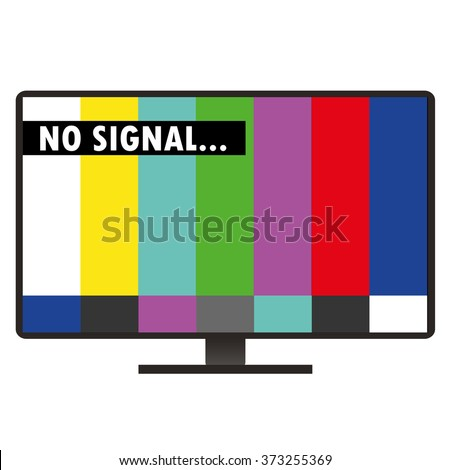 Inscription on the TV screen - no signal, flat design, vector illustration isolated on white - stock vector