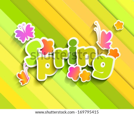Inscription Spring is coming on the background paper with butterfly and flowers - stock vector
