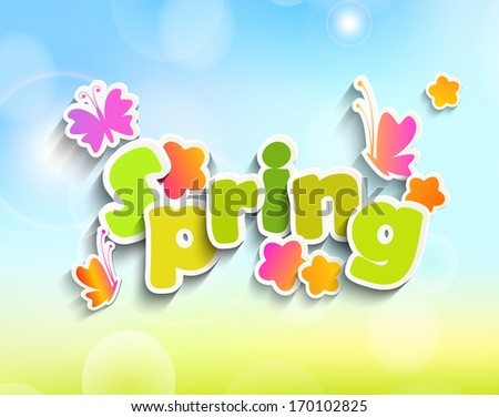 Inscription Spring is coming on the background paper with butterfly and flowers and spring bokeh background - stock vector