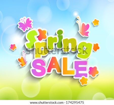 Inscription Spring sale on the background paper with butterfly and flowers and spring bokeh background. Vector. - stock vector