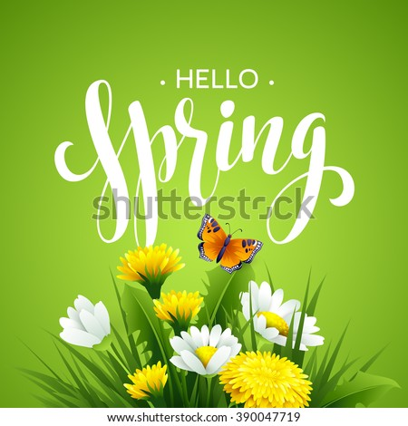 Inscription Spring Time on background with spring flowers. Spring floral background. Spring flowers background design for spring EPS10 - stock vector