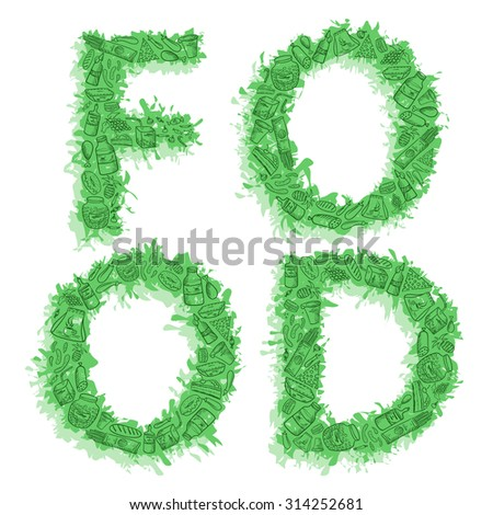 Inscription word Food of different foodstuffs - sketch hand drawn style vector. Green fresh illustration. - stock vector