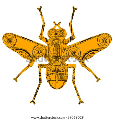 insect consisting of various technical drawing - stock vector