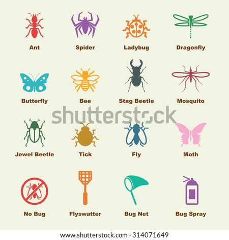 insect elements, vector infographic icons - stock vector