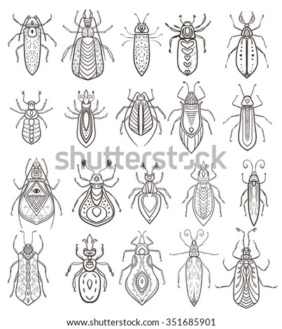 Insect icons set. Vector insect ornaments. Perfect for cards or any other kind of design, coloring book pages.  - stock vector