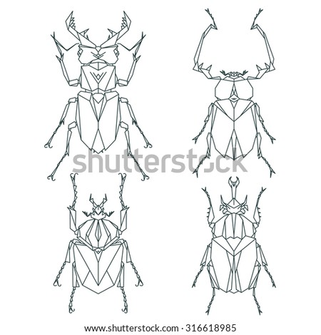 Insect icons, vector set. Abstract triangular style - stock vector