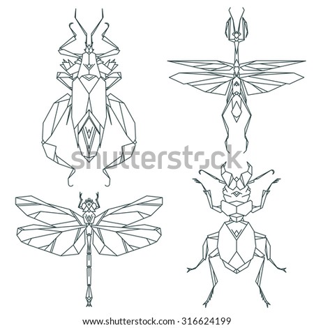 Insect icons, vector set. Abstract triangular style.  - stock vector