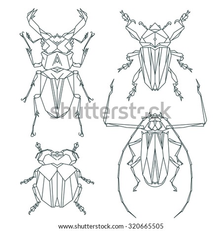 Insect icons, vector set. Abstract triangular style. vector illustration - stock vector