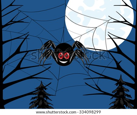 Insect spider in wood braids network .Vector illustration - stock vector