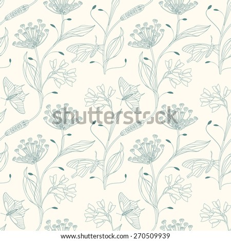 insects and flowers on a white background in seamless pattern - stock vector