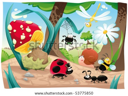 Insects family on the ground. Funny cartoon and vector scene. Objects isolated. - stock vector