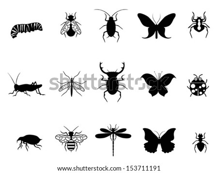 insects icon set - stock vector
