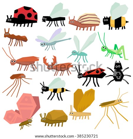 Insects icon set. Flat design Vector Illustration - stock vector