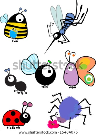 insects set - stock vector