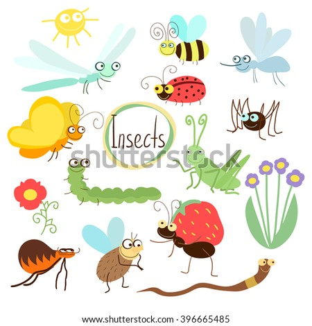 Insects vector. Insects isolated on white background. Butterfly, mosquito, spider, ladybug and other insects. Insects cartoon. Insects icon. Insects collection. Wildlife vector.  - stock vector