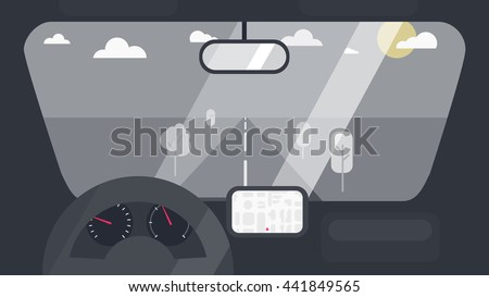 Inside car interior with wheel, speedometer, gps navigator. Vehicle background with view of road in window. Vector - stock vector