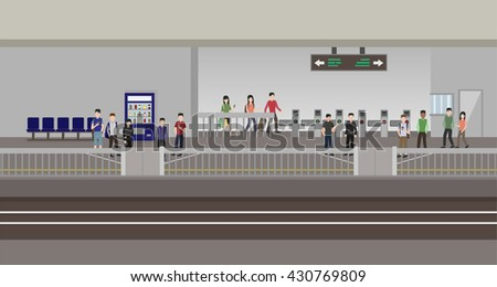 inside metro subway station , ticket vending machine and ticket gate , flat style vector - stock vector