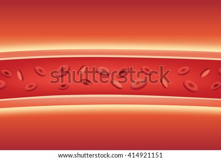 Inside of blood vessels. Illustration about medical and anatomy. - stock vector