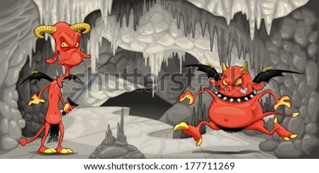 Inside the cavern with funny devils. Cartoon and vector illustration.  - stock vector