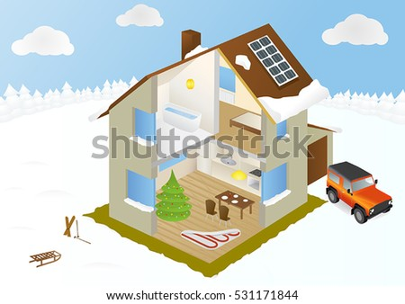 Inside eco home winter infographic cutaway stock vector hd royalty infographic with cutaway diagram of house with interior of ccuart Image collections
