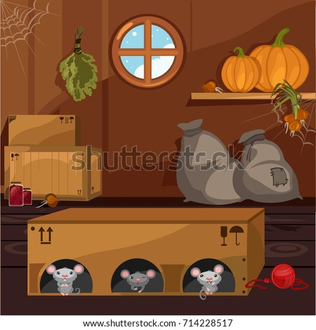 Inside Old Farmhouse Home Furnishings Mouse Stock Vector 714228517