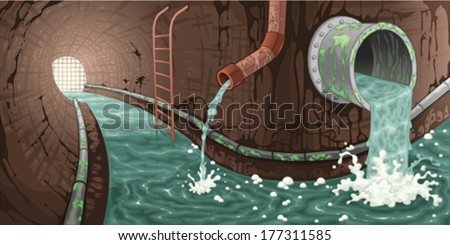 Inside the sewer. Cartoon and vector illustration.  - stock vector