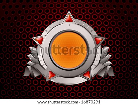 Insignia - star shaped. Blank so you can add your own images. Vector illustration. - stock vector