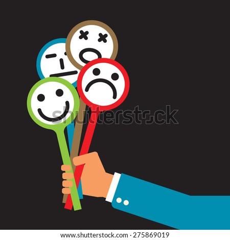 insincere businessman holding universal set of emotional masks  - stock vector