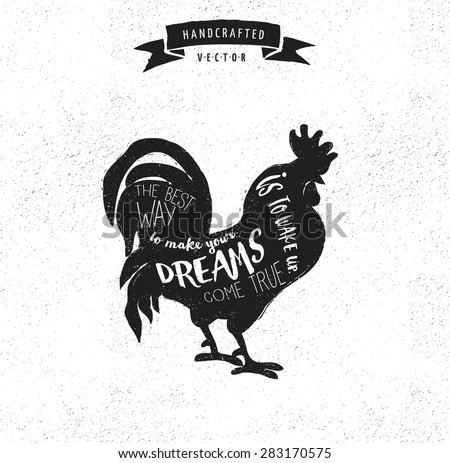 inspiration quote hipster vintage design label - rooster - stock vector
