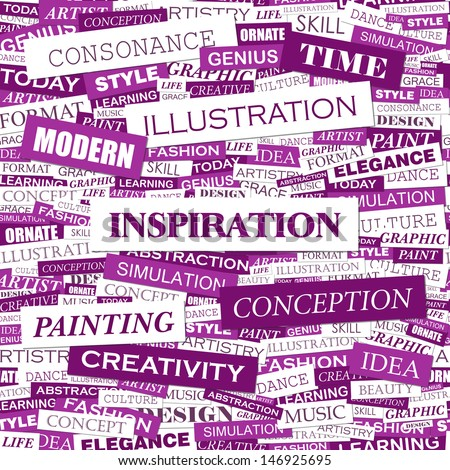 INSPIRATION. Word cloud concept illustration. Graphic tag collection. Wordcloud collage with related tags and terms.  - stock vector