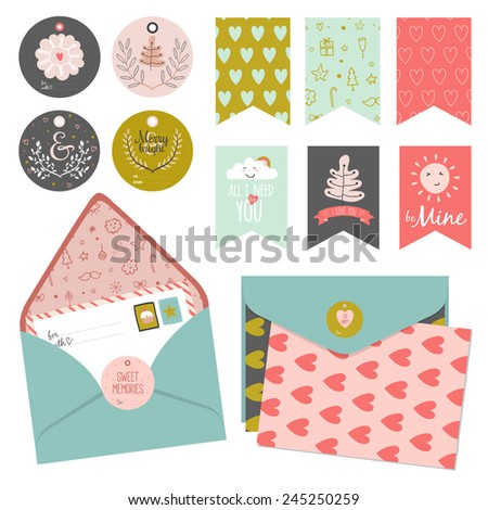 Inspirational romantic and love card, stickers, labels, tags and ribbons with cute elements, icons, typography, greeting and wishes for Happy Valentines Day. Good for holidays scrapbooking - stock vector