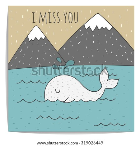 Inspirational romantic and love quote card. Cute hand drawn whale. Kraft paper. Miss you - stock vector