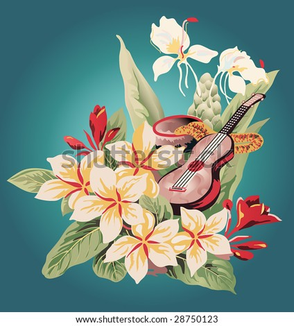 inspired by a vintage Hawaiian Aloha shirt, an image of tropical flowers, a calabash with feather lei, and a ukulele - stock vector