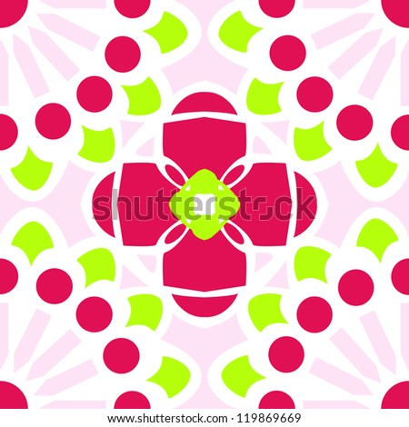 Inspired by traditional talavera tile designs this rose & chartreuse vector pattern can tile seamlessly and features and abstract floral pattern. - stock vector