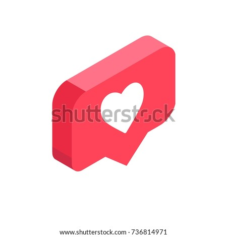 Instagram Like Isometric Icon Pink 3 D Stock Vector 736814971