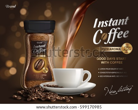 instant coffee ad, with coffee flow elements, bokeh background, 3d illustration