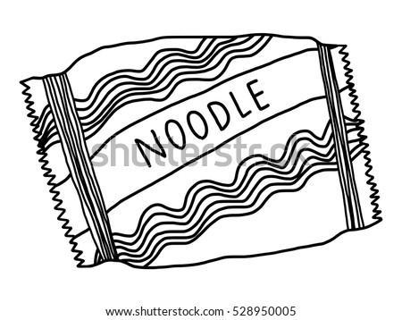 noodles bowl cartoon vector illustration black stock