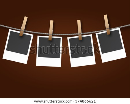 Instant Photo Frames on Rope on dark background vector Illustration
