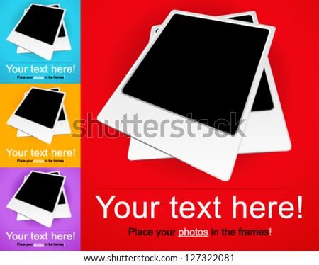 instant photo frames vector - stock vector