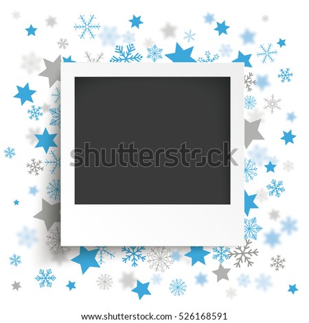 Instant photo with blue snowflakes and stars on the white background. Eps 10 vector file.