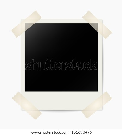Instant photo with masking tape on white wall - stock vector