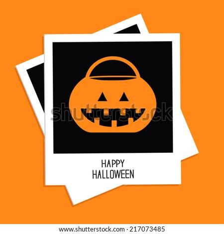 Instant photo with trick or treat pumpkin bucket. Happy Halloween card. Flat design. Vector illustration - stock vector