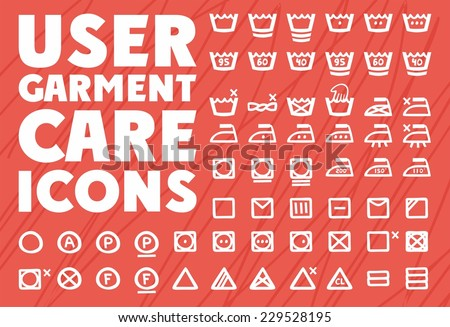instruction on care of clothes in handwritten icons - stock vector