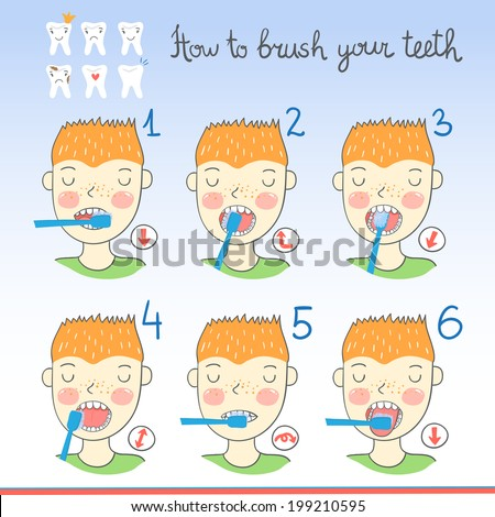Instructions on how to brush your teeth for kids with boy with toothbrush and cartoon teeth. Easy learn how to brush teeth for children. Vector illustration - stock vector