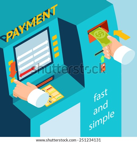 Instructions replenishment of funds through bank terminal. ATM terminal payment cash. Vector illustration - stock vector