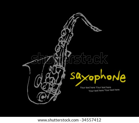 instruments collection -3 : saxophone - stock vector