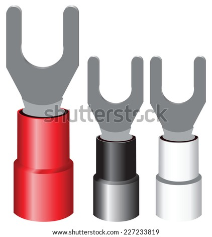 Insulated electrical components Terminal Spade for screw mounting wires. Vector illustration. - stock vector