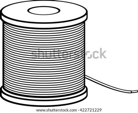 insulated wire spool - stock vector
