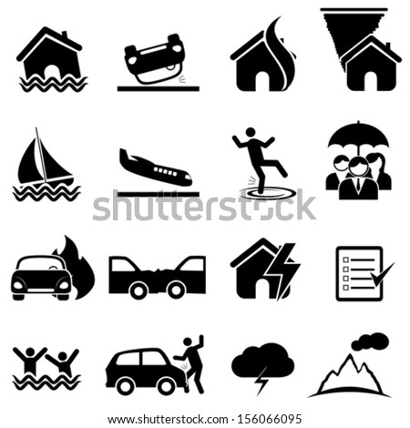 Insurance, accident and disaster icon set - stock vector