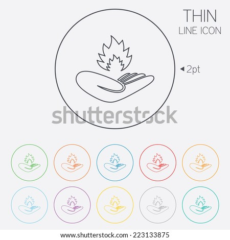 Insurance against fire sign icon. Hand holds fire flame symbol. Thin line circle web icons with outline. Vector - stock vector